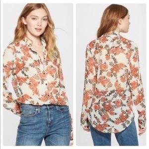 *NWOT* Long sleeve, sheer, floral button-up
